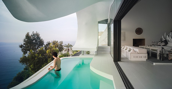 Cliff House Sliding Door Overlooking Pool